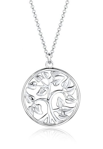 Elli Kette mit Anhänger »Tree of Life Lebensbaum Floral 925 Silber«