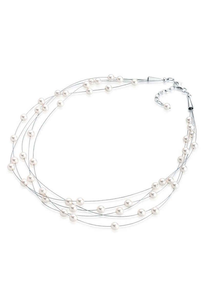 Elli Perlenkette »Multi-Chain Synthetische Perlen 925 Sterling Silber«