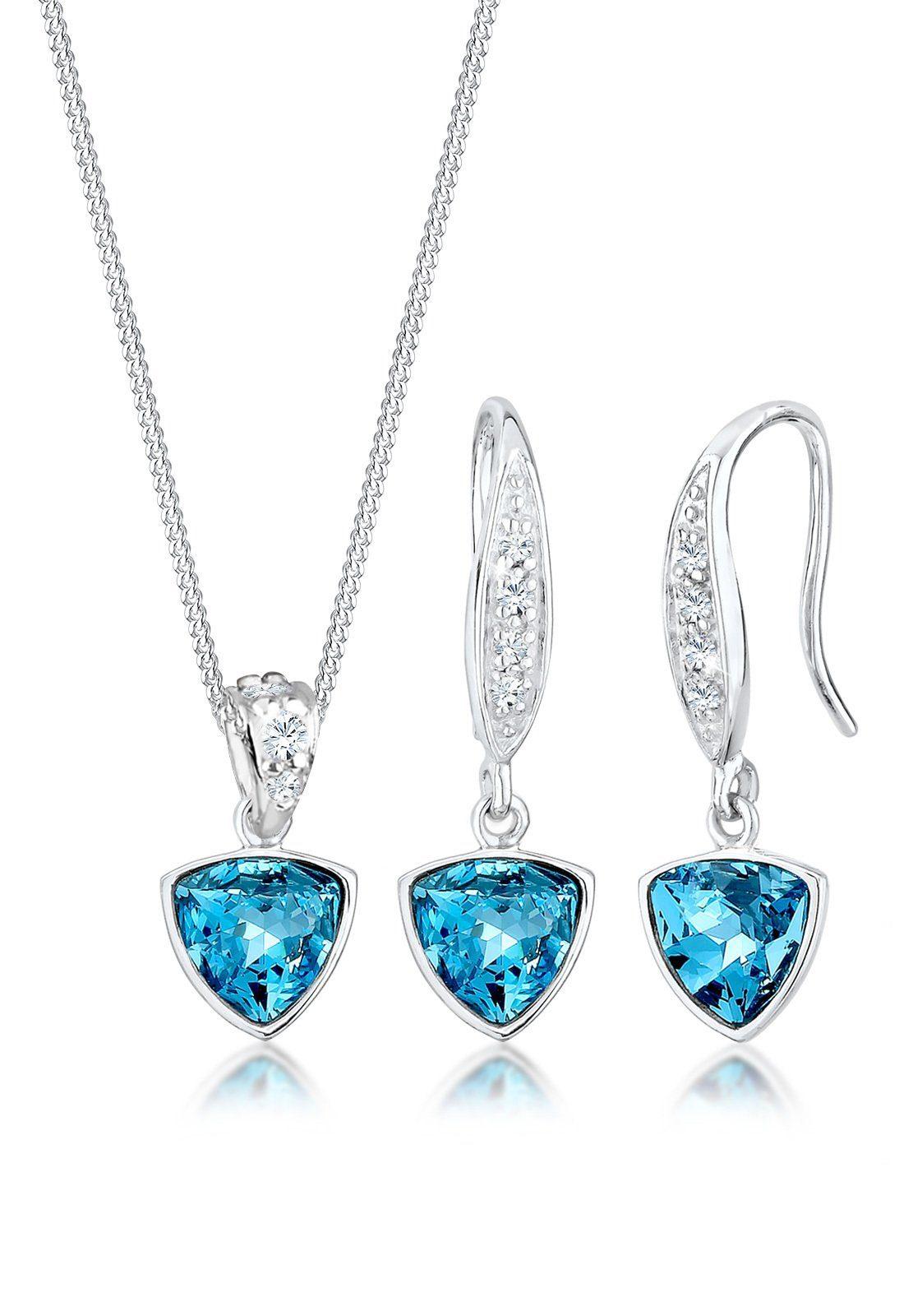 Elli Ohrring und Ketten Set »Set: Geo Aquamarine Swarovski® Kristalle 925 Silber« (Set, 2 tlg)
