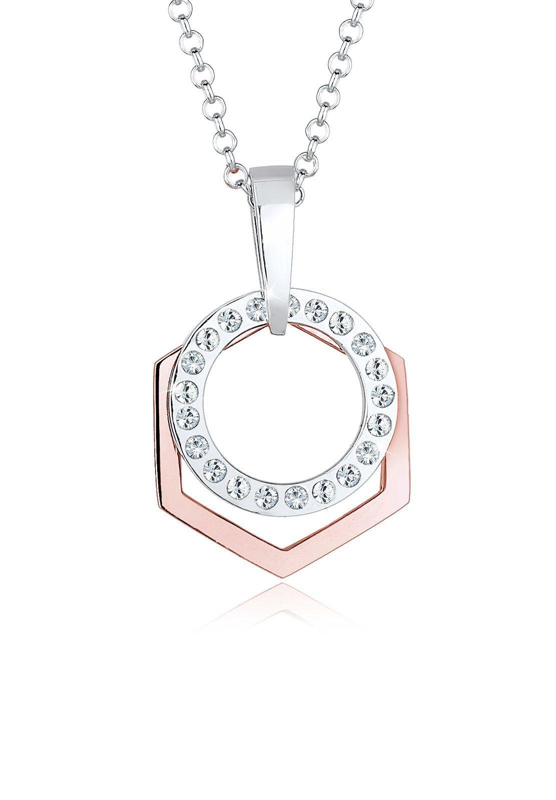 Elli Collierkettchen »Hexagon Kreis Swarovski® Kristalle 925 Silber«