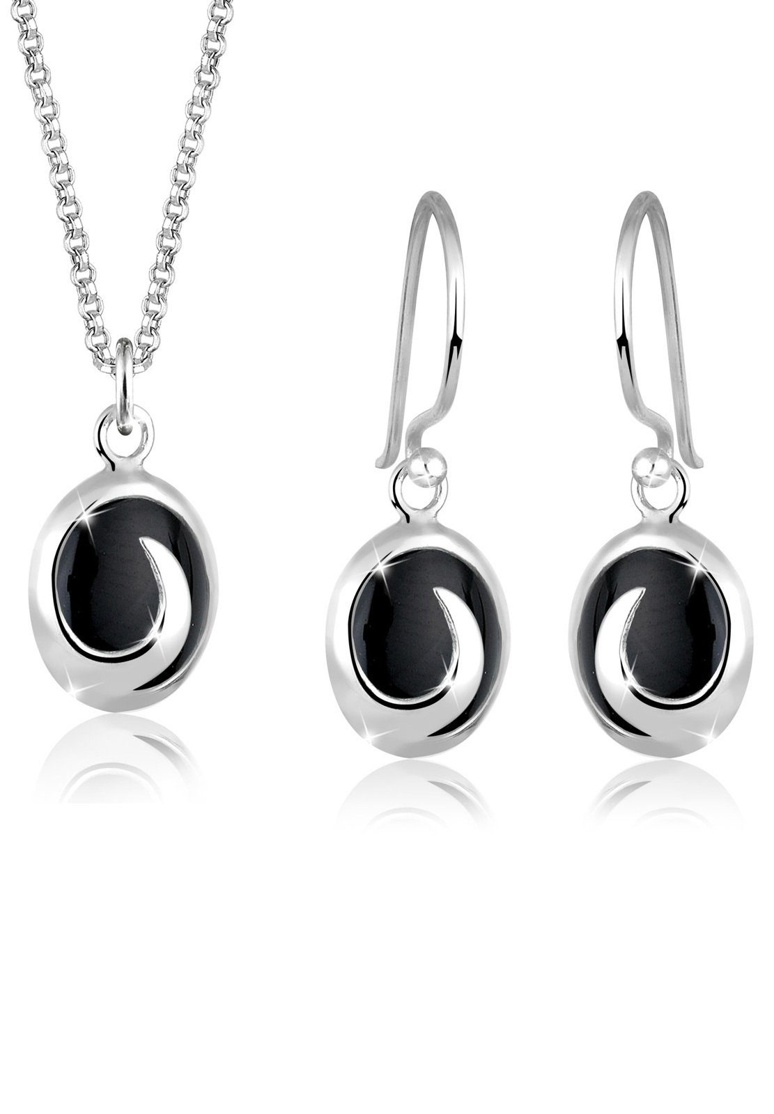 Elli Ohrring und Ketten Set »Set: Onyx 925 Sterling Silber« (Set, 2 tlg)
