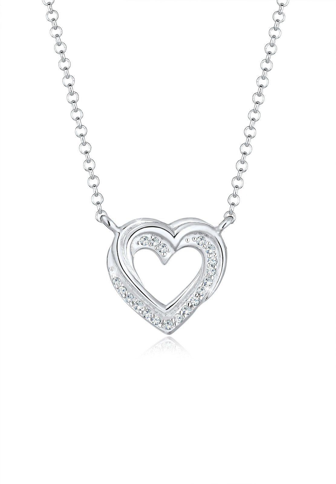 Elli Collierkettchen »Herz Swarovski® Kristalle 925 Silber«