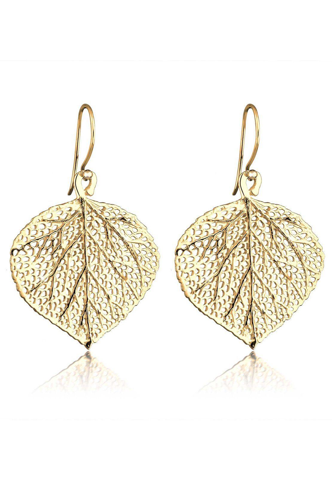 Elli Paar Ohrhänger »Blatt Natur Blätter Baum 925 Silber vergoldet«