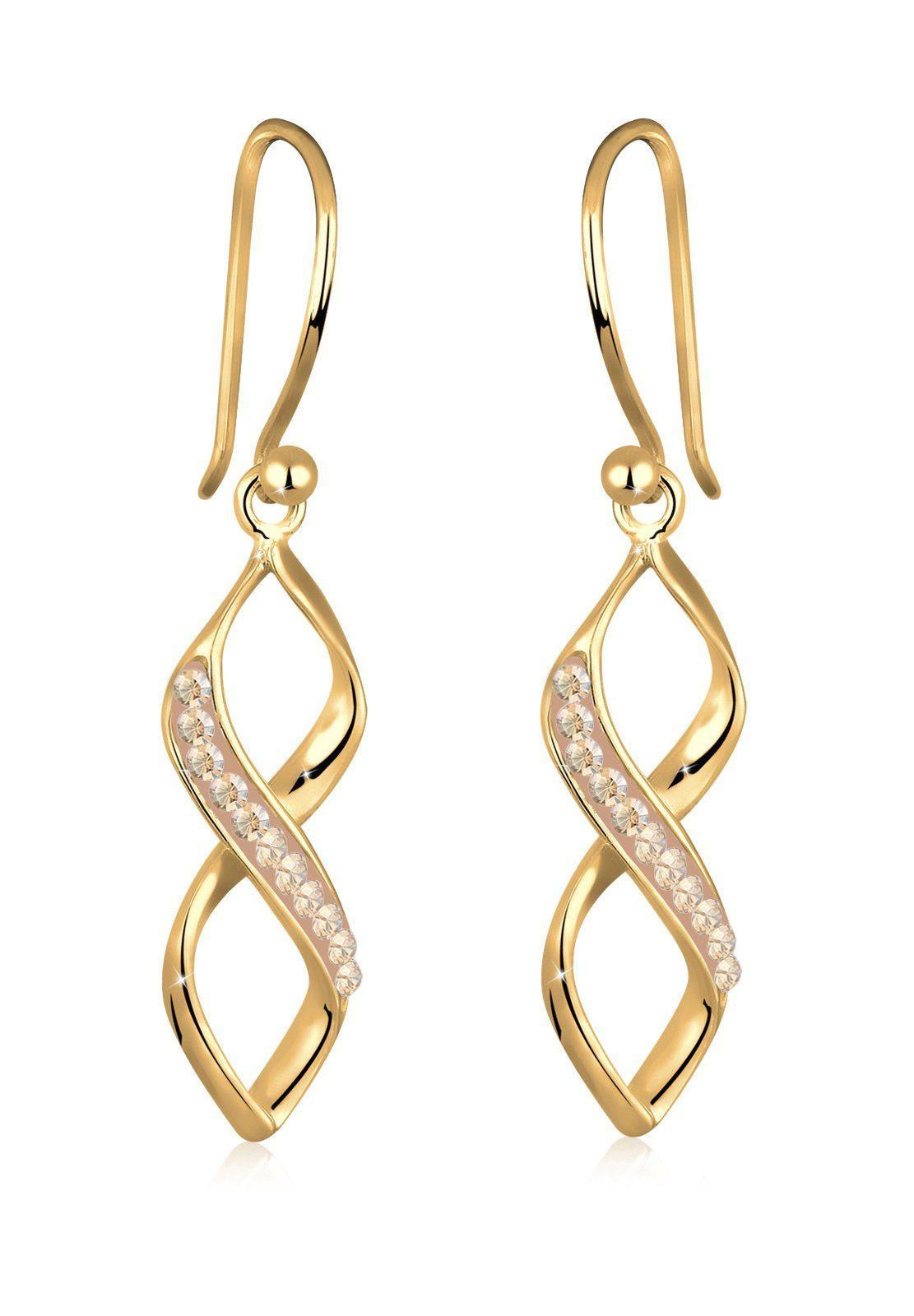 GOLDHIMMEL Paar Ohrhänger »Spirale Infinity Swarovski® Kristalle«