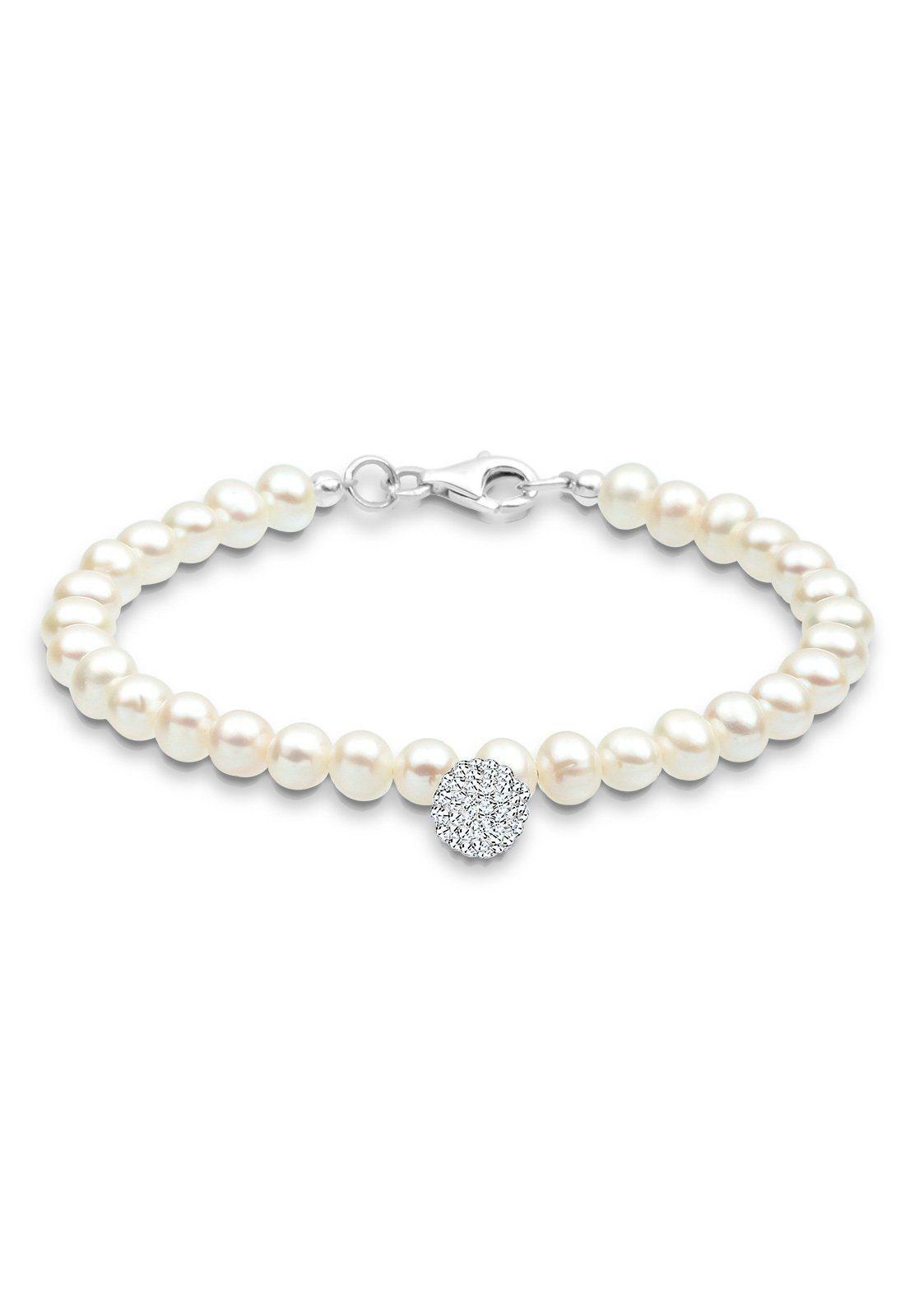 PERLU Perlenarmband »Perle Schneeflocke Swarovski® Kristalle 925 Silber«