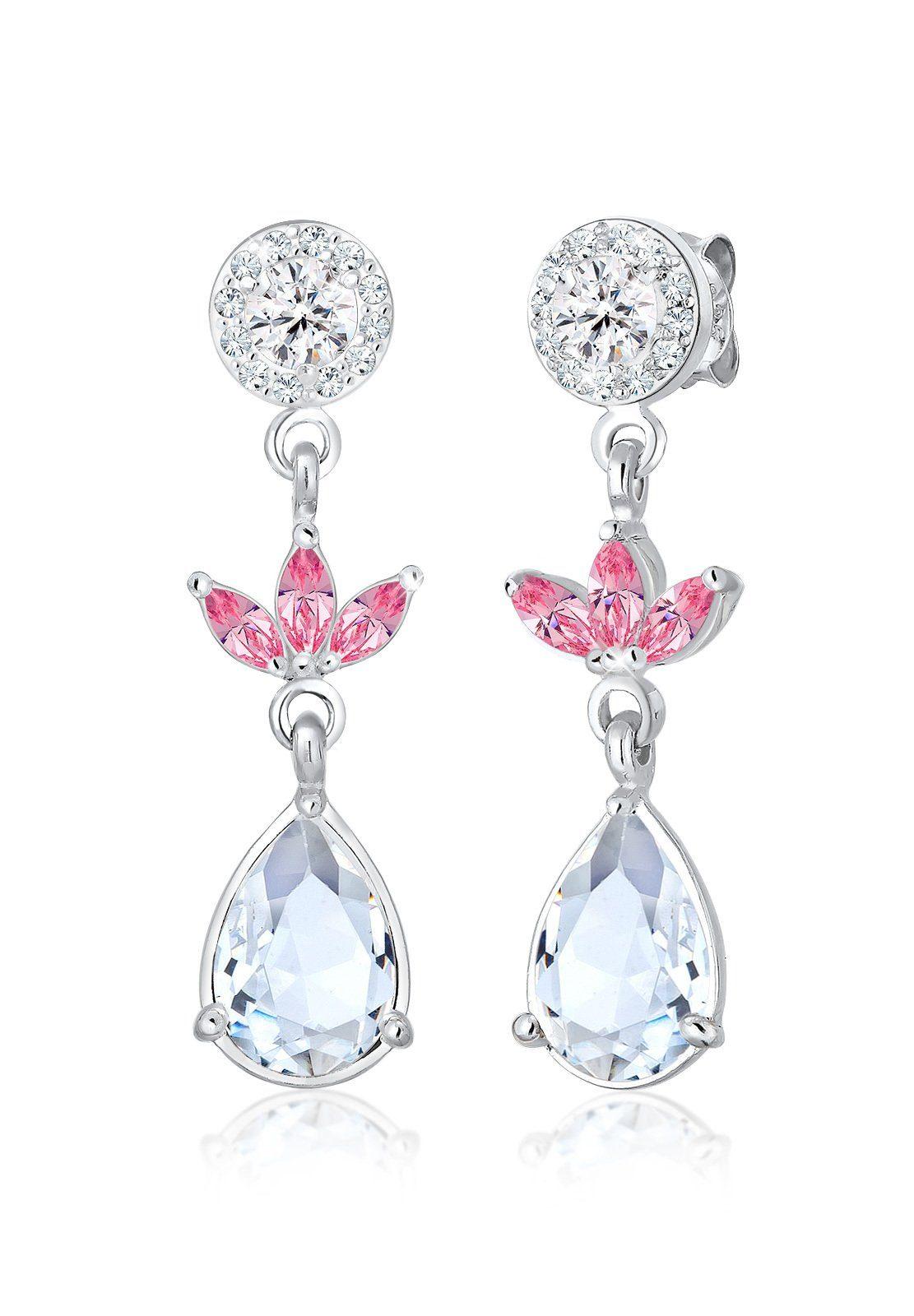 Elli Paar Ohrhänger »Hänger Blume Swarovski® Kristalle 925 Silber Fiore«