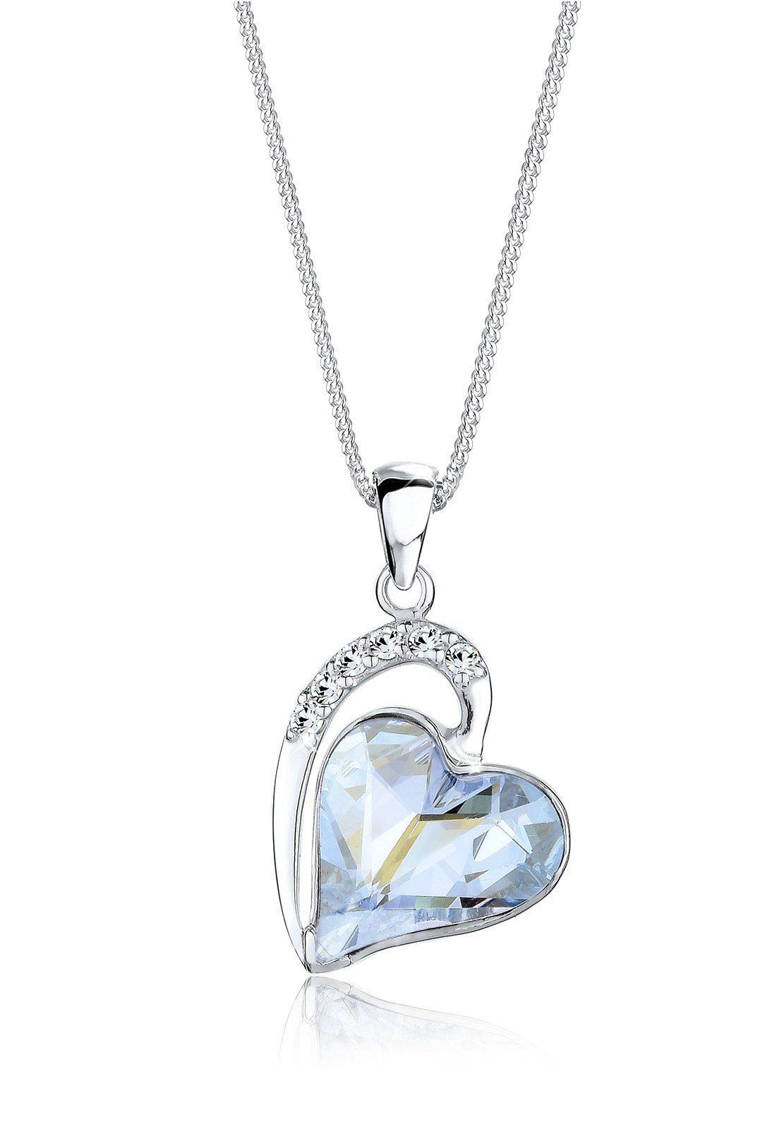 Elli Collierkettchen »Herz Love Swarovski® Kristalle 925 Silber«