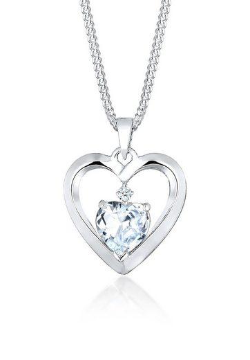 Diamore Collierkettchen »Herz Diamant (0.02 ct) Zirkonia 925 Silber«