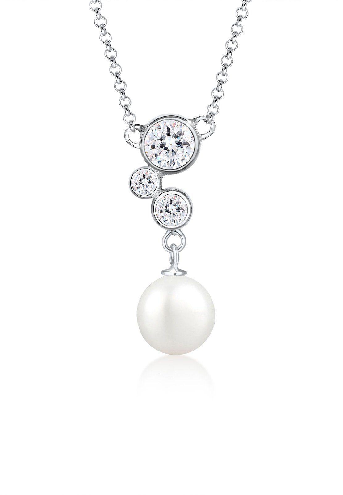 Elli Perlenkette »Muschelkernperle Swarovski® Kristalle 925 Silber«