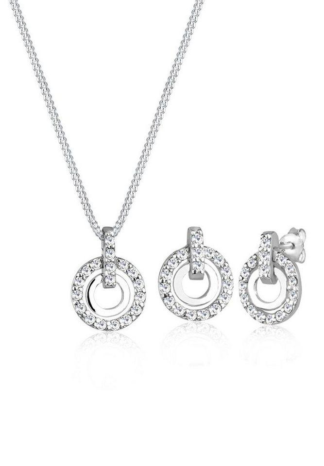 Elli Schmuckset »925 Sterling Silber Kreis Swarovski® Kristalle« | Schmuck > Schmucksets | Weiß | Elli