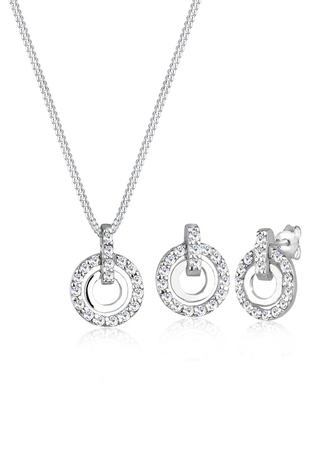 Elli Schmuckset »Set: 925 Sterling Silber Kreis Swarovski® Kristalle« (Set, 2 tlg)