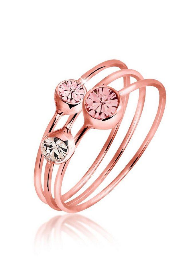 Elli Solitärring »Set: Set Swarovski® Kristalle rosé vergoldet« | Schmuck > Ringe > Solitär Ringe | Rosa | Elli