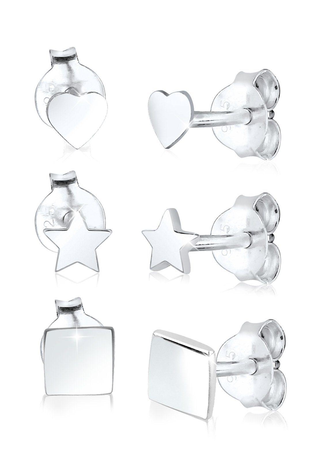 Elli Ohrring-Set »Set: 3er Set Herz Viereck Sterne Geo 925 Silber«