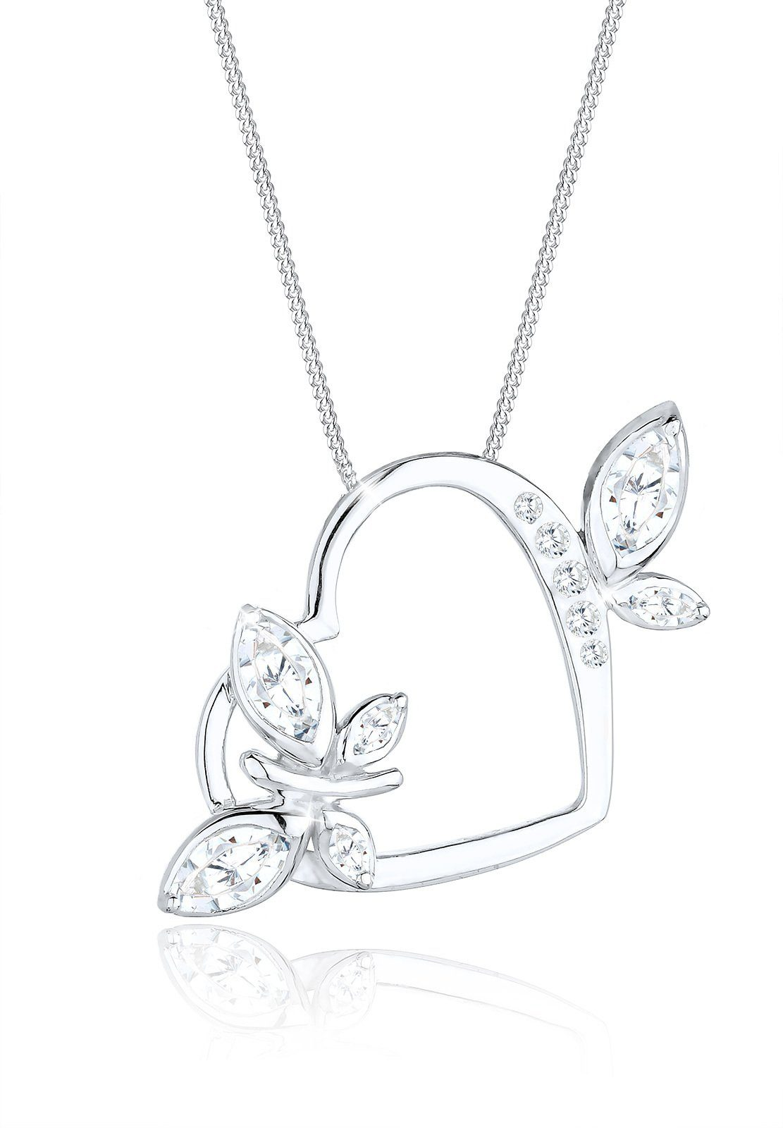 Elli Collierkettchen »Herz Schmetterling Zirkonia 925 Silber Pretty«