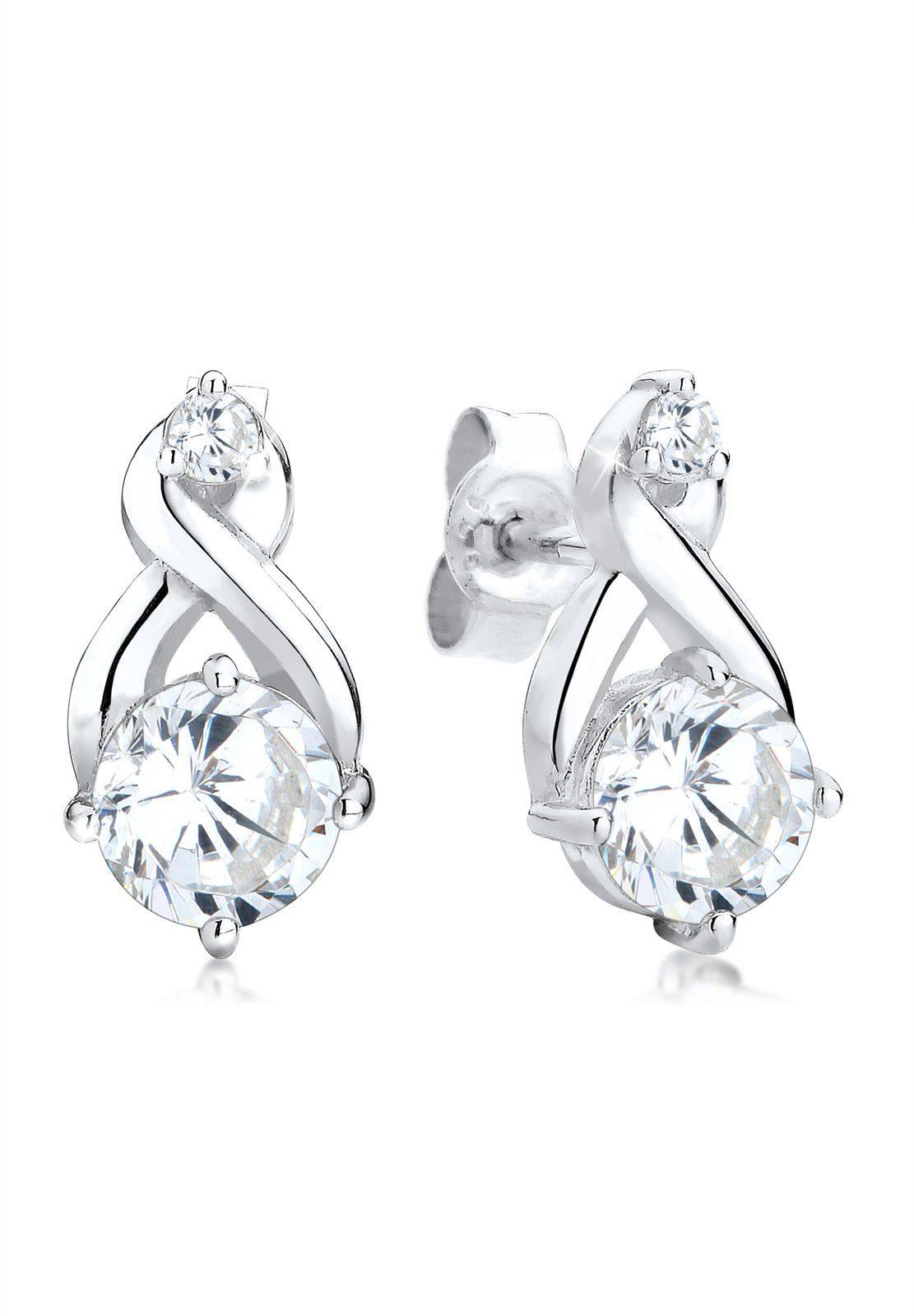 Elli Paar Ohrstecker »Infinity Zirkonia Glamour Elegant 925 Silber«