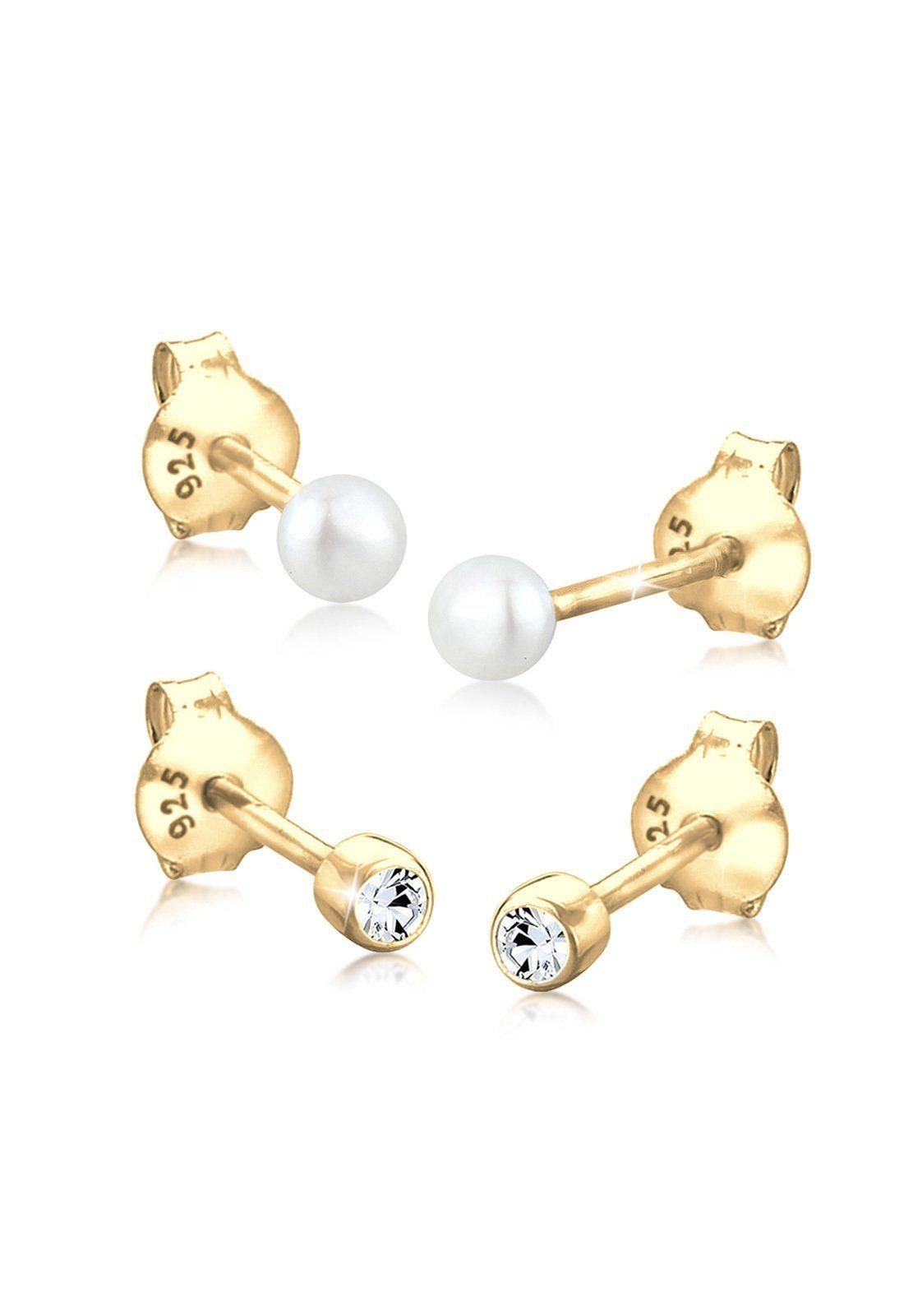 GOLDHIMMEL Perlenohrringe »Set: Kugel Perle Set Swarovski® Kristalle 925 Silber«