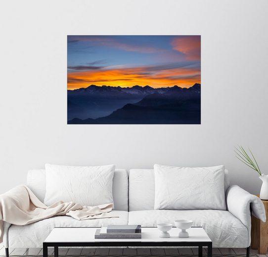 Posterlounge Wandbild - Fabio Lamanna »Bunter Himmel bei Sonnenuntergang über den Alpen«