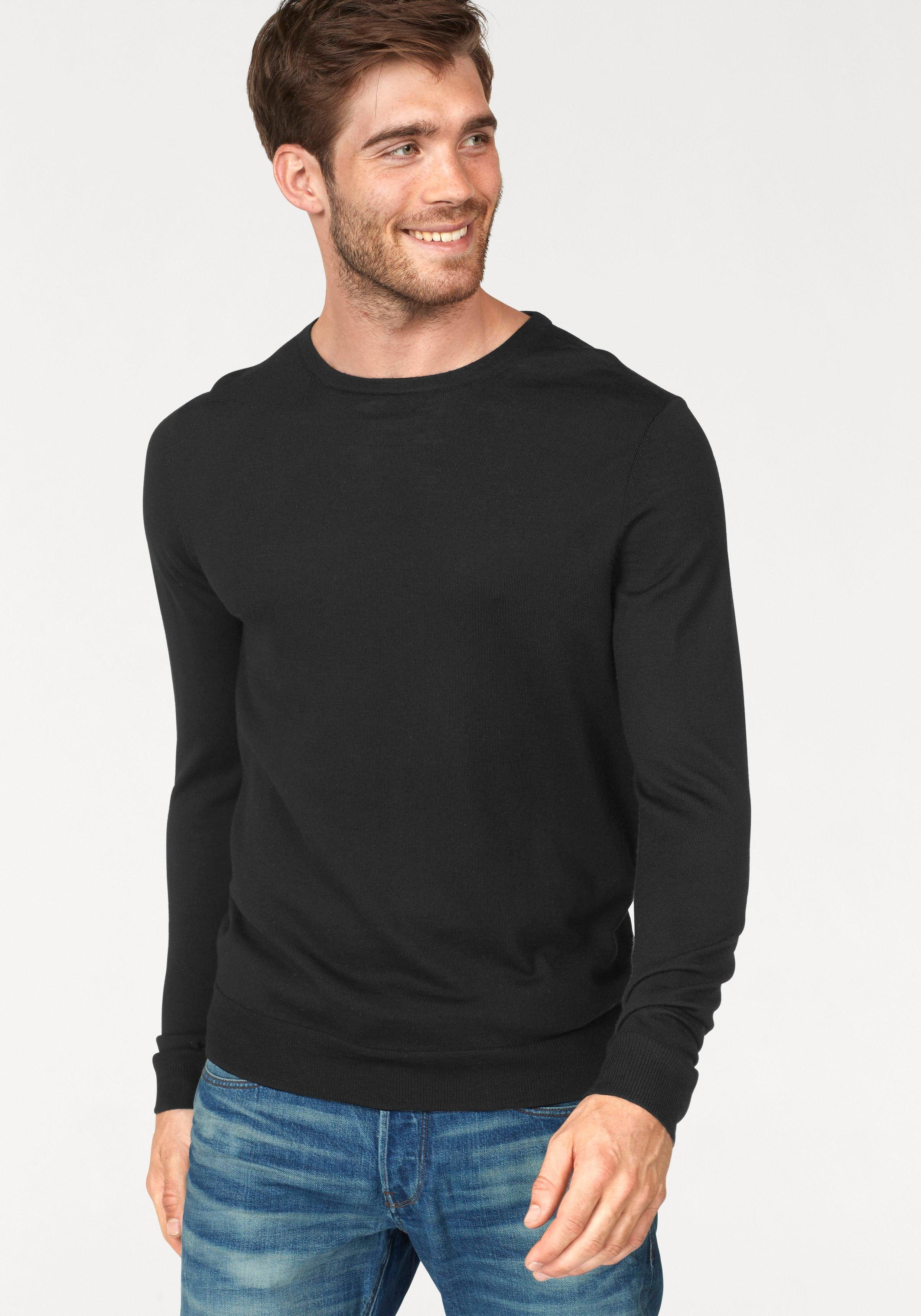 Jack & Jones Strickpullover »MARK KNIT CREW NECK« | Bekleidung > Pullover > Sonstige Pullover | Schwarz | Jack & Jones