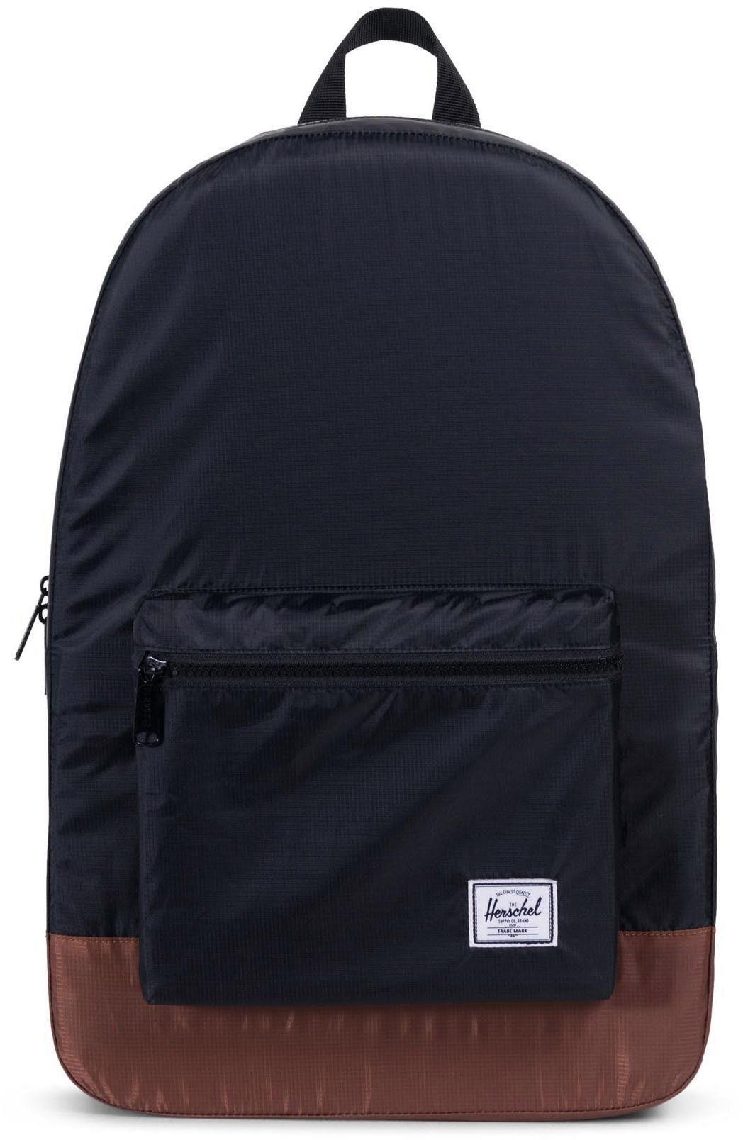 Herschel Rucksack, »Daypack Packable, Black/Tan Synthetic Leather«