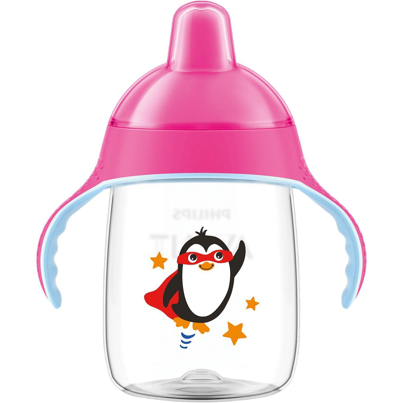 Philips AVENT Trinklernflasche SCF755/07, 340 ml, Silikonschnabel, pink