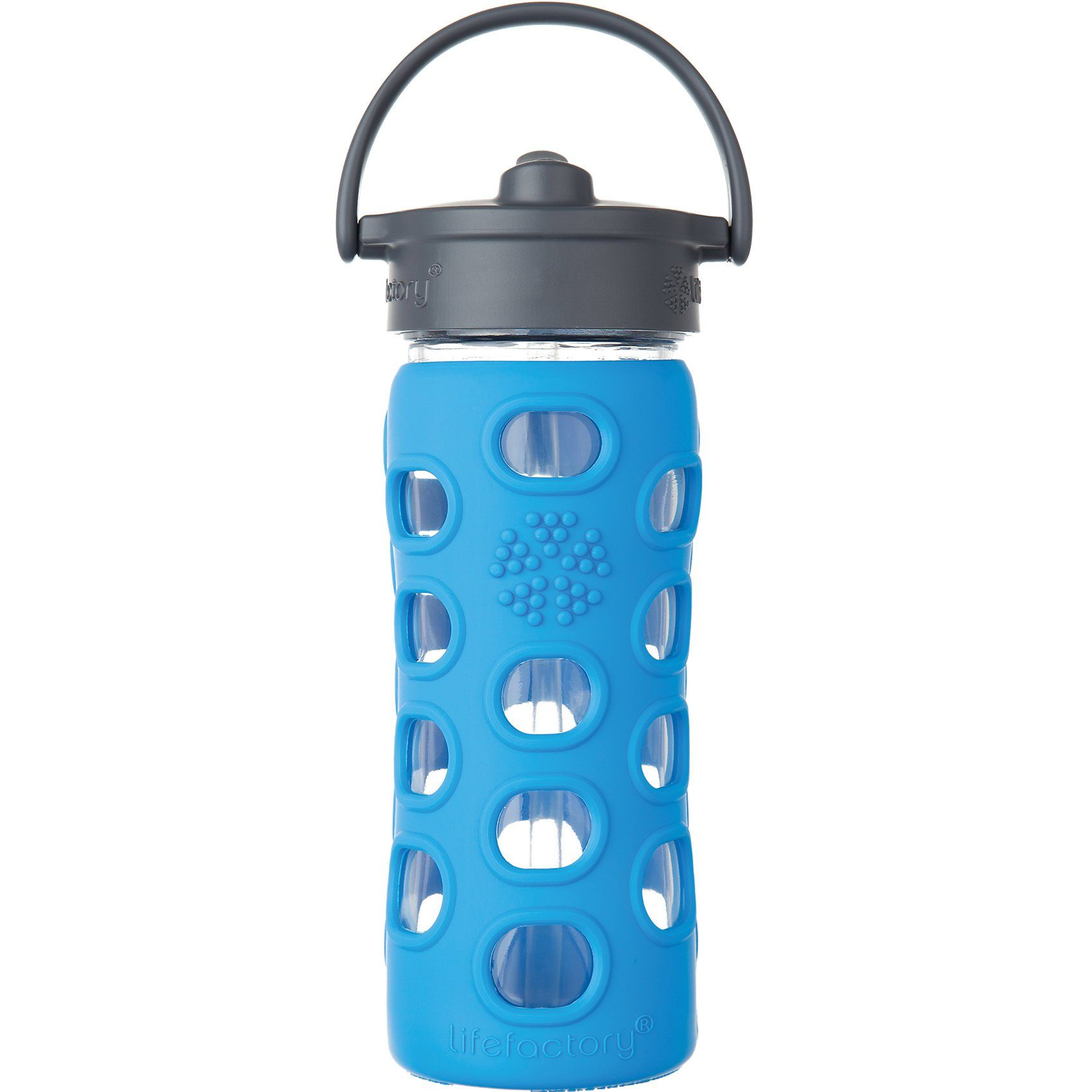 Lifefactory Trinkflasche Glas Straw Cap, 350 ml