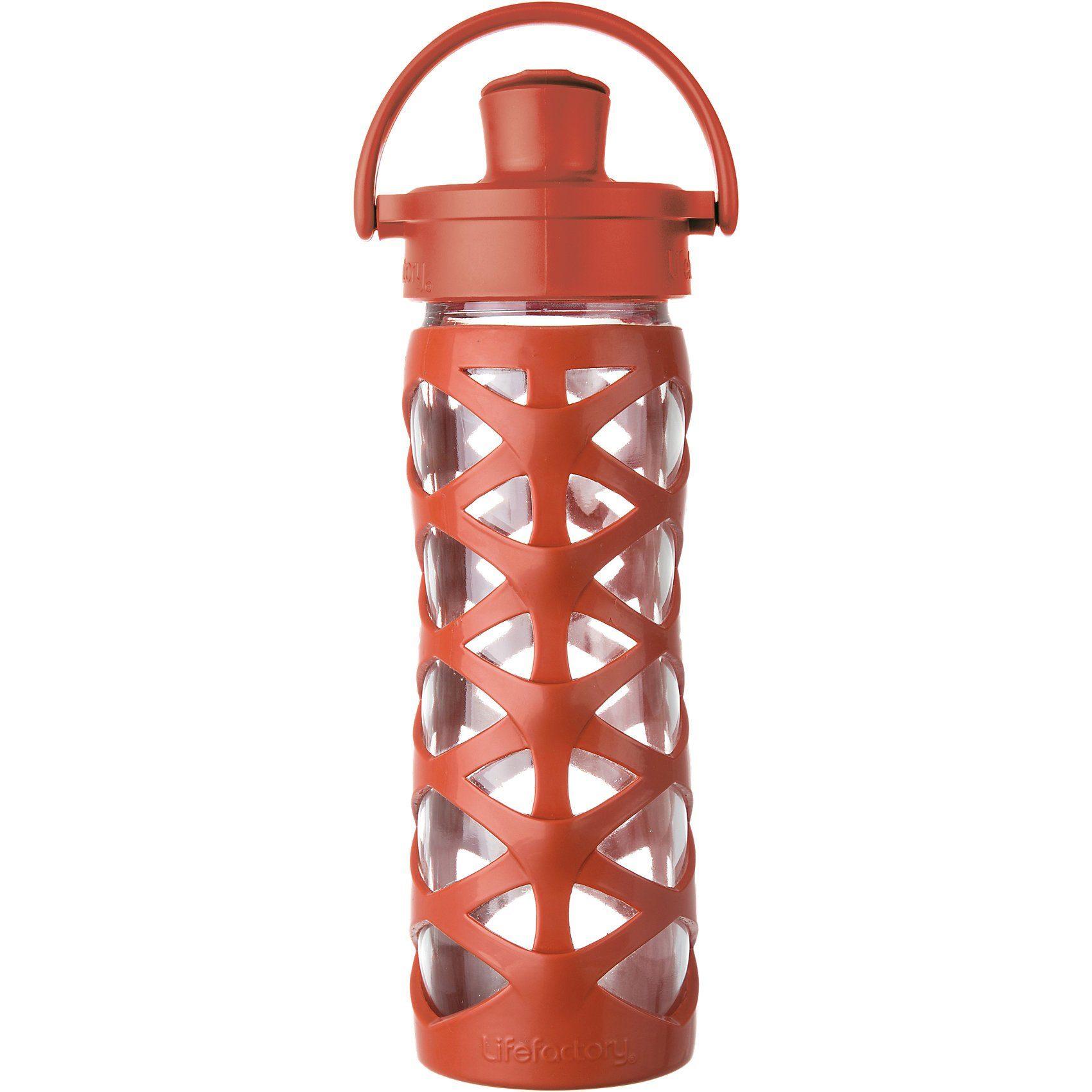 Lifefactory Trinkflasche Glas Golden Gate Orange Active Flip Cap, 475 ml