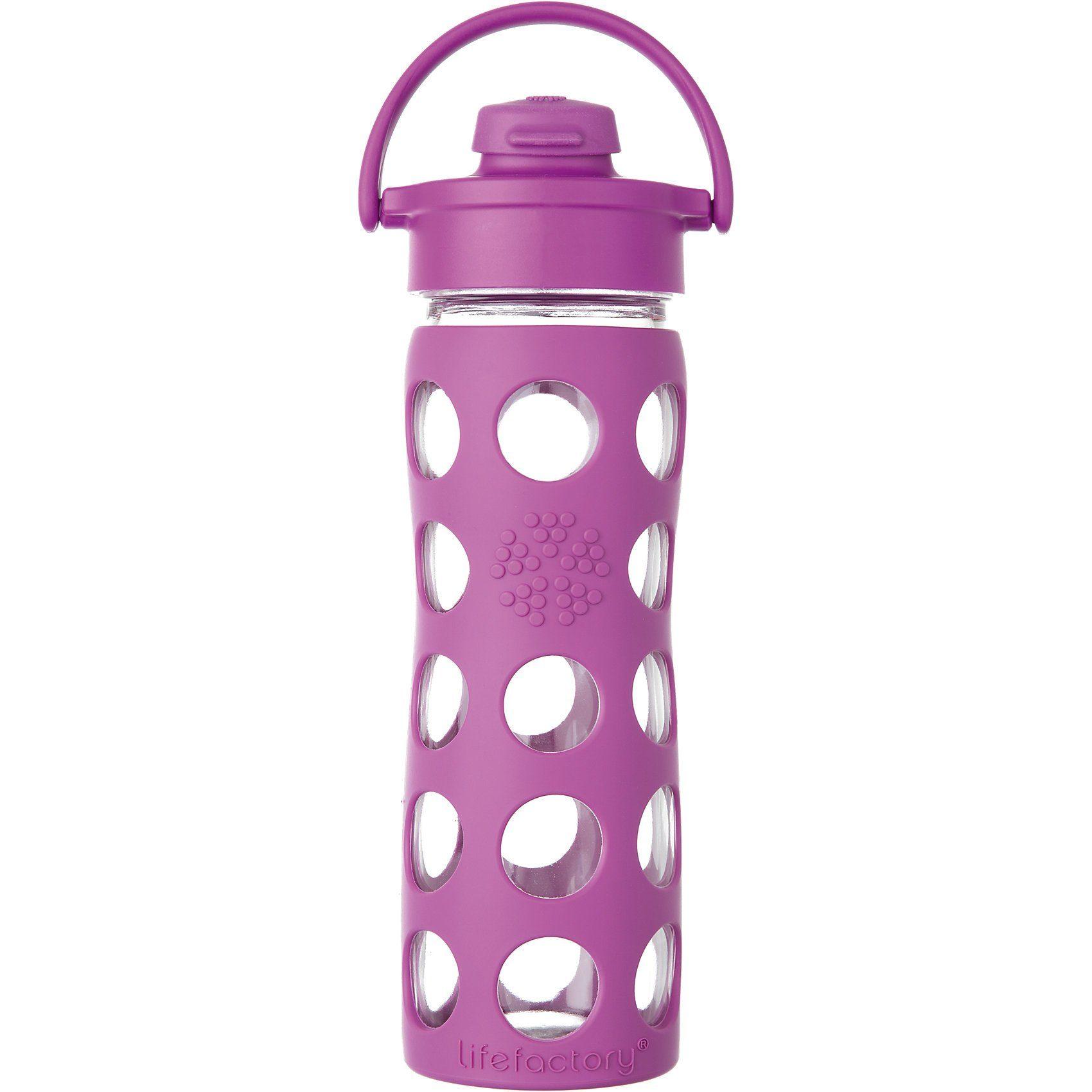 Lifefactory Trinkflasche Glas Huckleberry Flip Top Cap, 475 ml