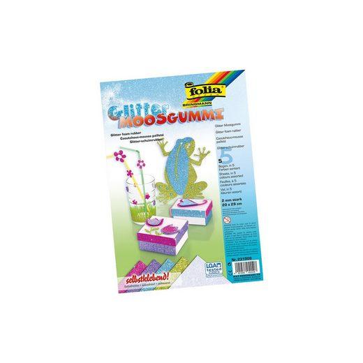 Folia Glitter-Moosgummi selbstklebend Pastell, 5 Bogen in 5 Farben