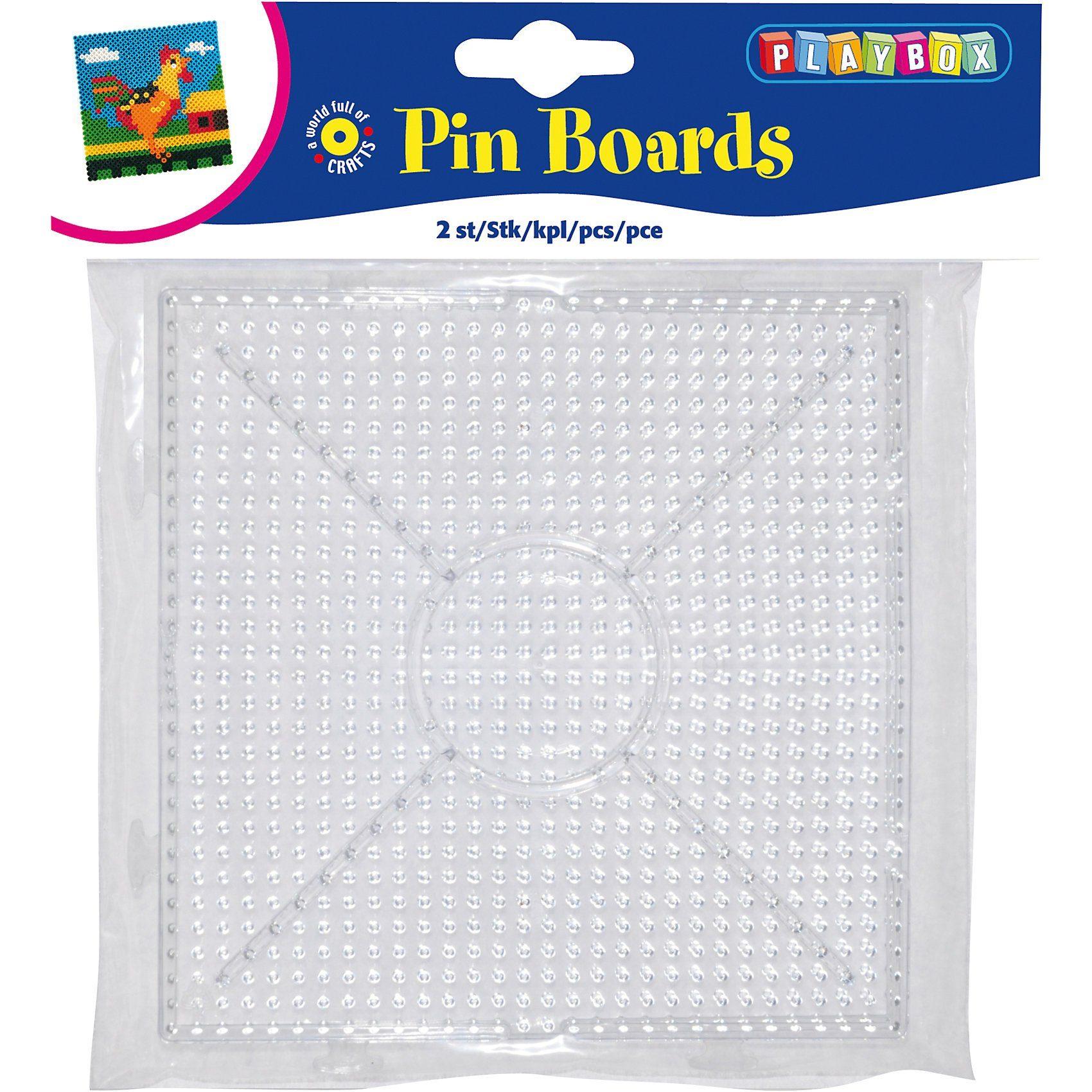 Playbox Bügelperlen Steckplatten, 2 Stück Quadrat zusammensteckbar