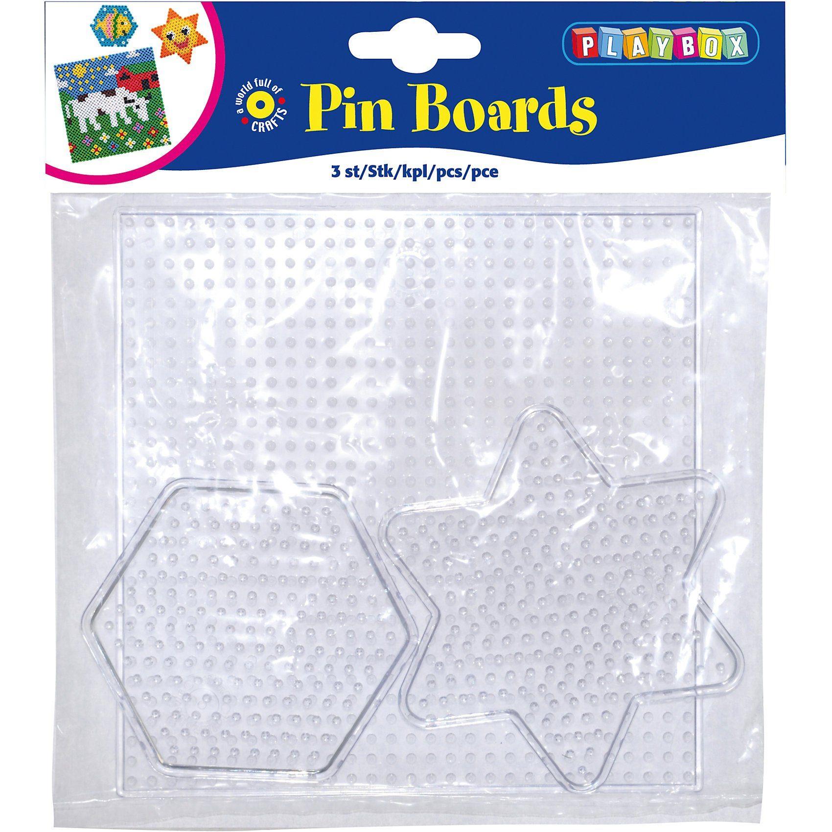 Playbox Bügelperlen Steckplatten, 3 Stück Formen