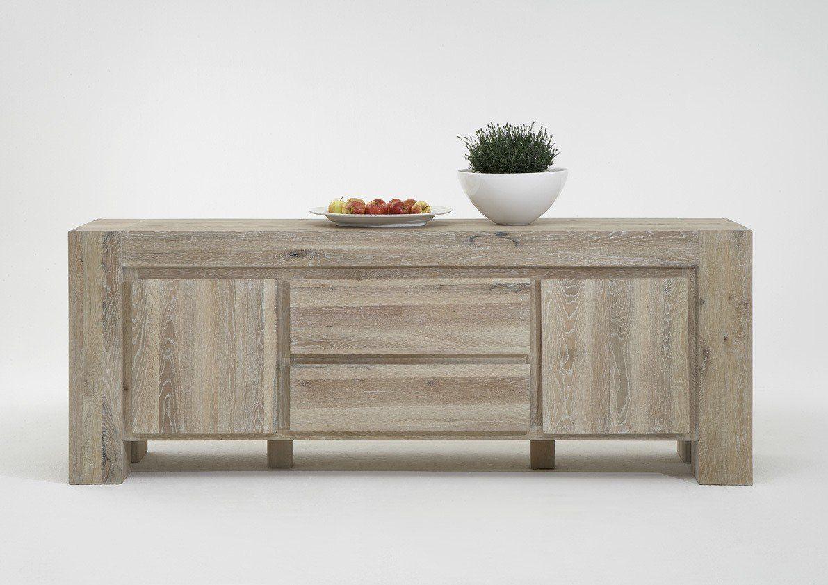 Kasper-Wohndesign Sideboard 2 Schubladen und 2 Türen white wash »NOTOS«