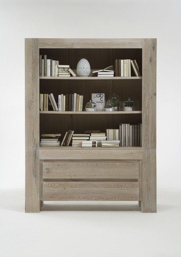 Kasper-Wohndesign  Highboard Massivholz white wash NOTOS braun | 04250385968068