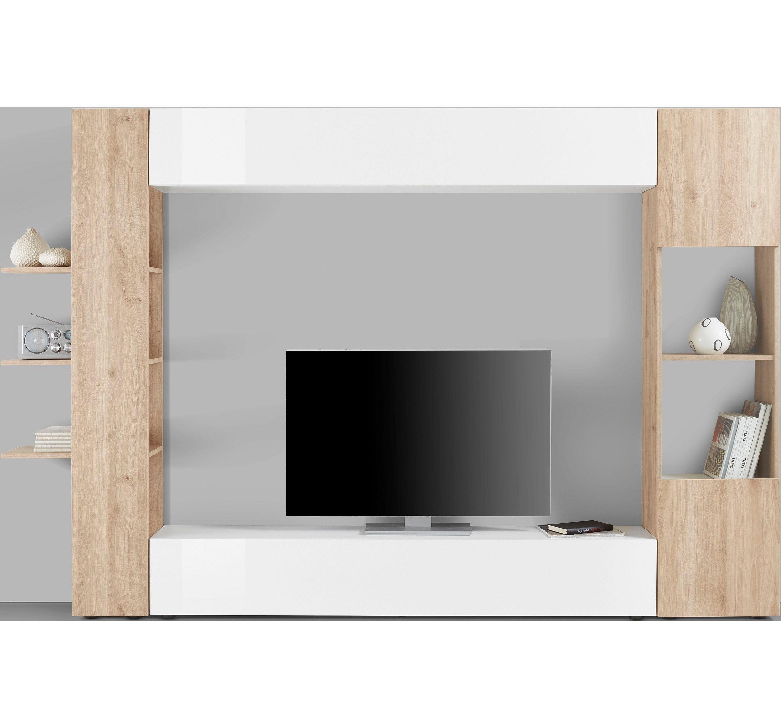 LC TV-Wand SORANO - Matt/Hochglanz Weiß - Eichefarben Cadiz