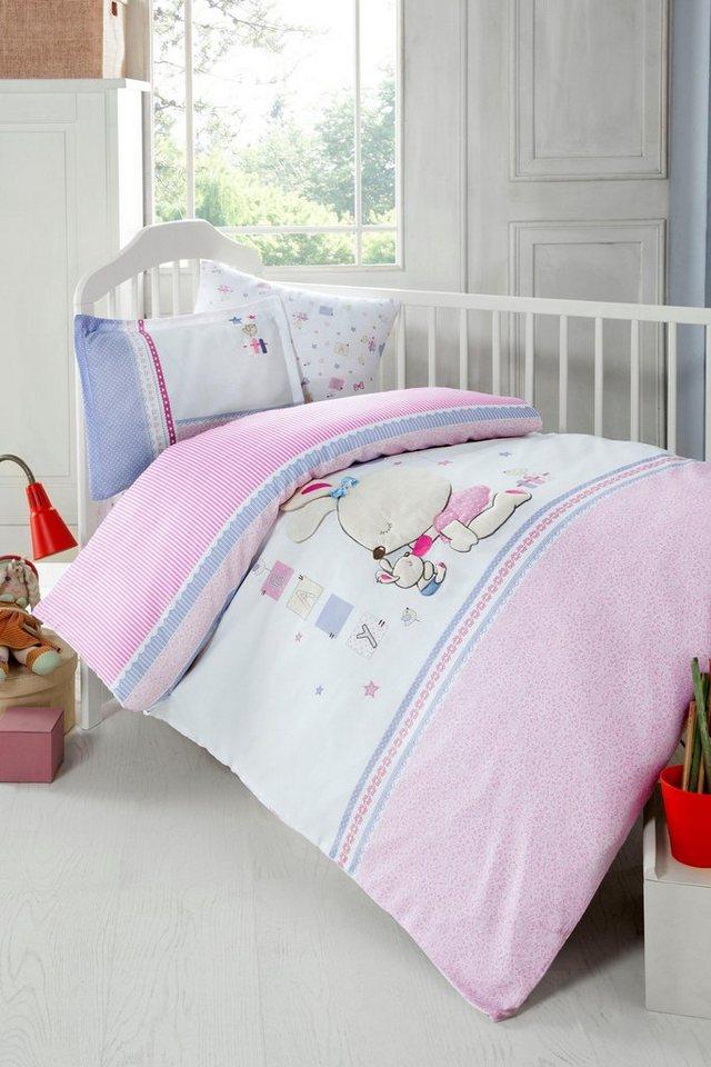 Babybettwäsche »Minni«, SEI Design, mit kleinen Hasen | Kinderzimmer > Textilien für Kinder > Kinderbettwäsche | Rosa | SEI Design