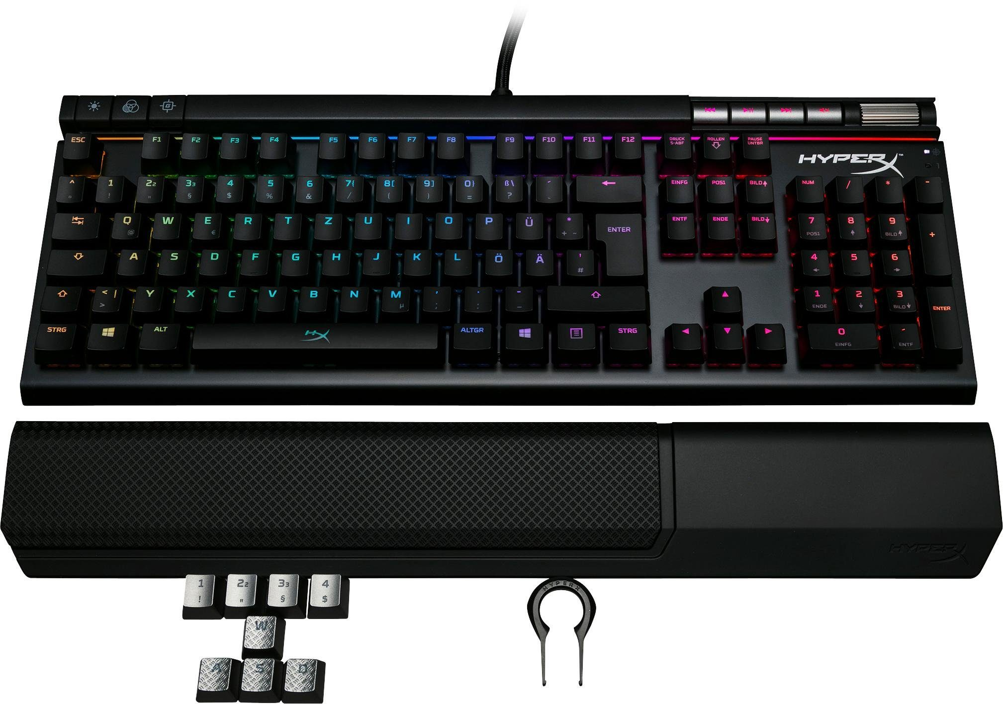 HyperX »Alloy Elite Mechanical, RGB-MX Switchfarbe braun« Gaming-Tastatur (USB-Anschluss, Ziffernblock, Multimedia-Tasten)