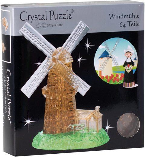 HCM KINZEL 3D-Puzzle »Crystal Puzzle, Windmühle«, 64 Puzzleteile