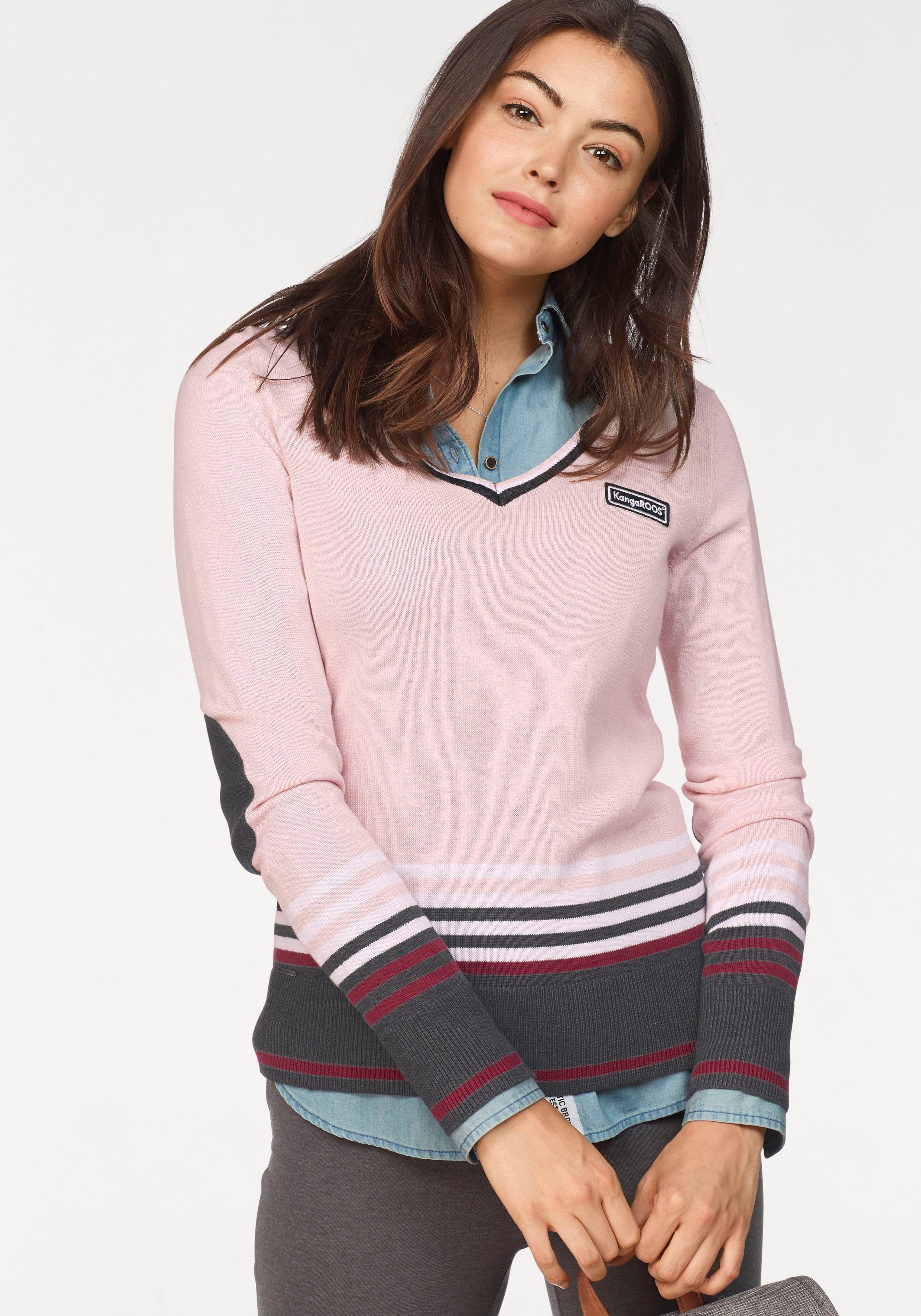 KangaROOS V Ausschnitt Pullover im tollen Streifen Farb Mix online kaufen | OTTO