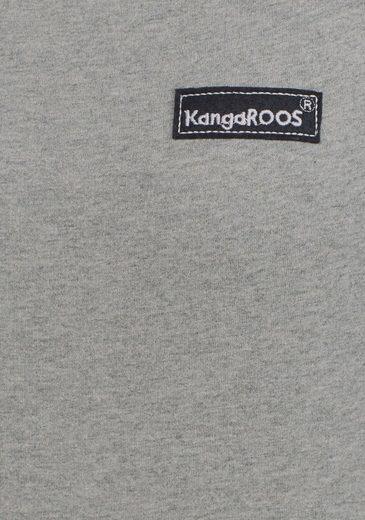 meliert Ausschnitt Rüsche Grau Und Kangaroos Ärmel Sweater Karierter An Mit WHED29YI