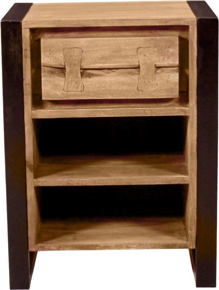 SIT Nachttisch »Live Edge« aus Akazienholz, mit markanten Baumkanten in der Front   Schlafzimmer > Nachttische   Braun   Holz - Akazienholz - Metall   SIT
