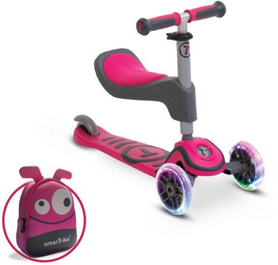 smarTrike® Dreiradscooter »T1, pink«, Montierbarer Sitz mit Schaumgummipolster und Federstahlbremse