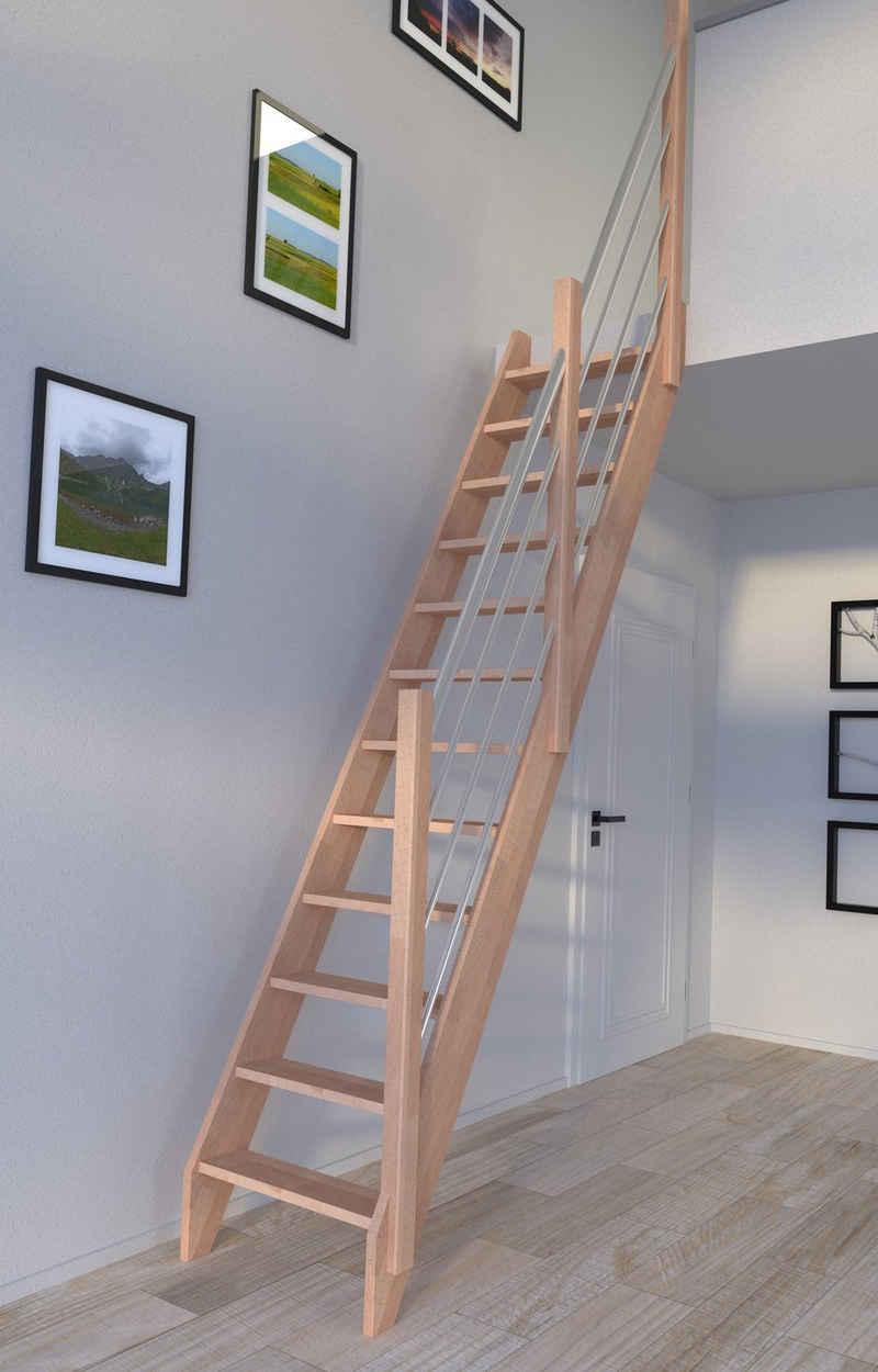 Starwood Raumspartreppe »Buche 3000, Holz-Edelstahl«, Stufen offen, Durchgehende Wangenteile