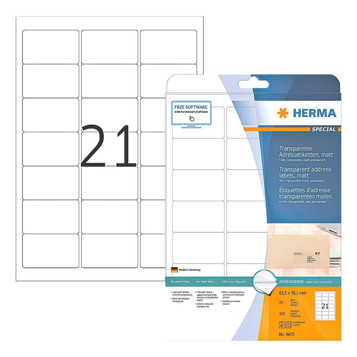 HERMA Transparente Adress-Etiketten 525 Stück »Special«