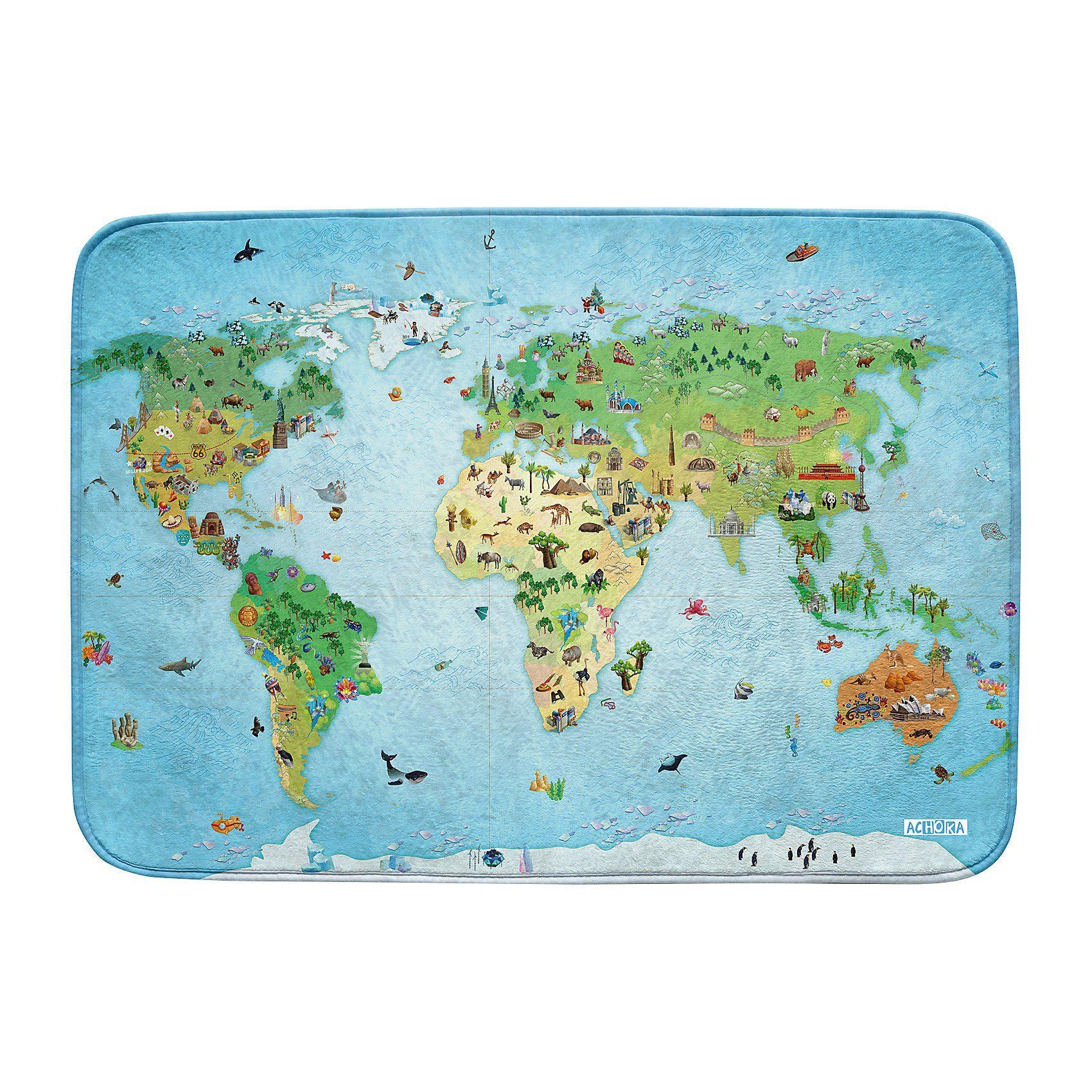 Ultrasoft Spielteppich Um die Welt, 100 x 150 cm