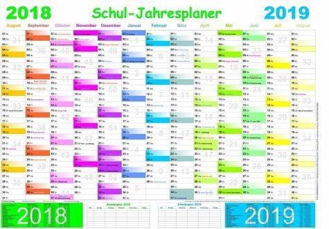 Kalender »Schuljahresplaner 2018/2019«