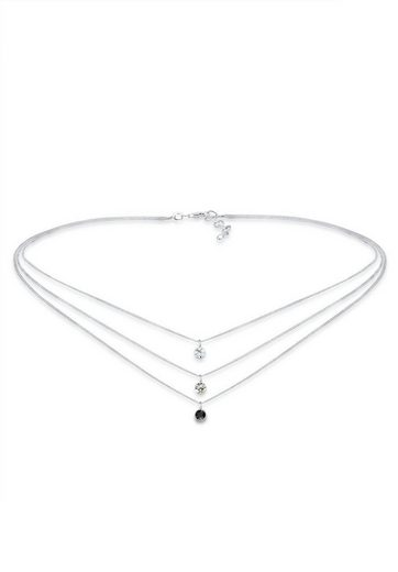 Elli Collierkettchen »Choker 3-reihig Swarovski® Kristalle Silber«