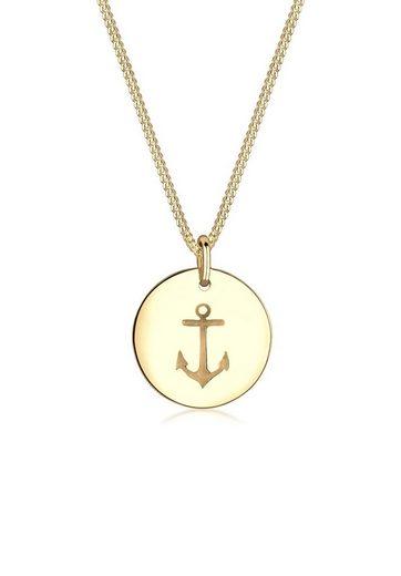 Elli Collierkettchen »Anker Münze Maritim 925 Sterling Silber«