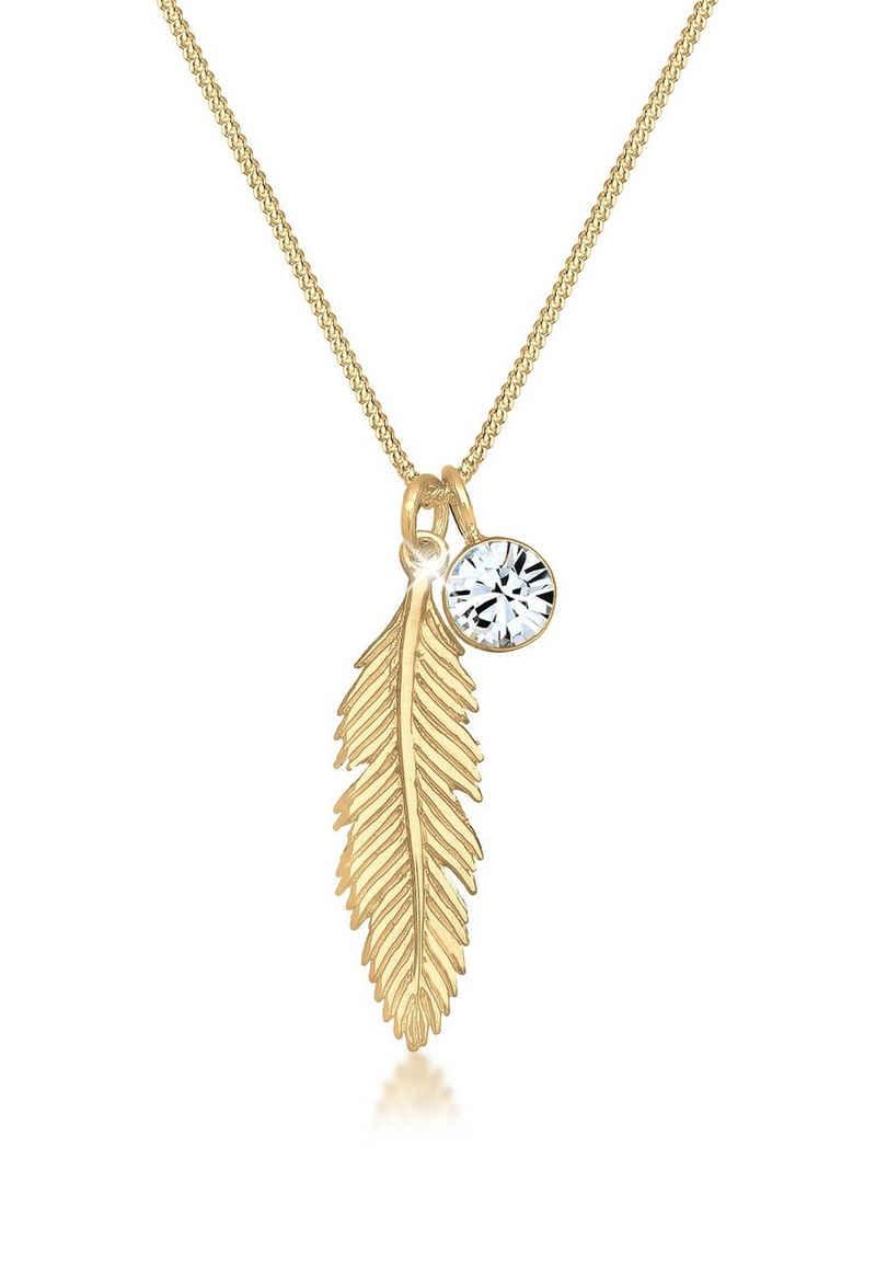 Elli Collierkettchen »mit Kristalle und Feder 925 Silber«