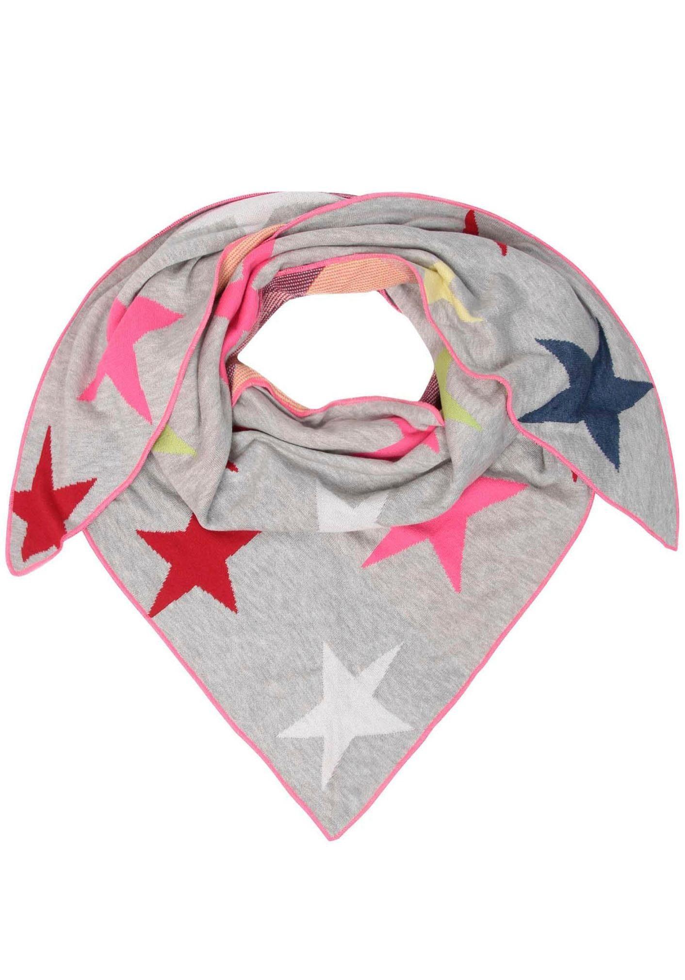 Zwillingsherz Dreieckstuch mit bunten Sternen, mit Baumwolle