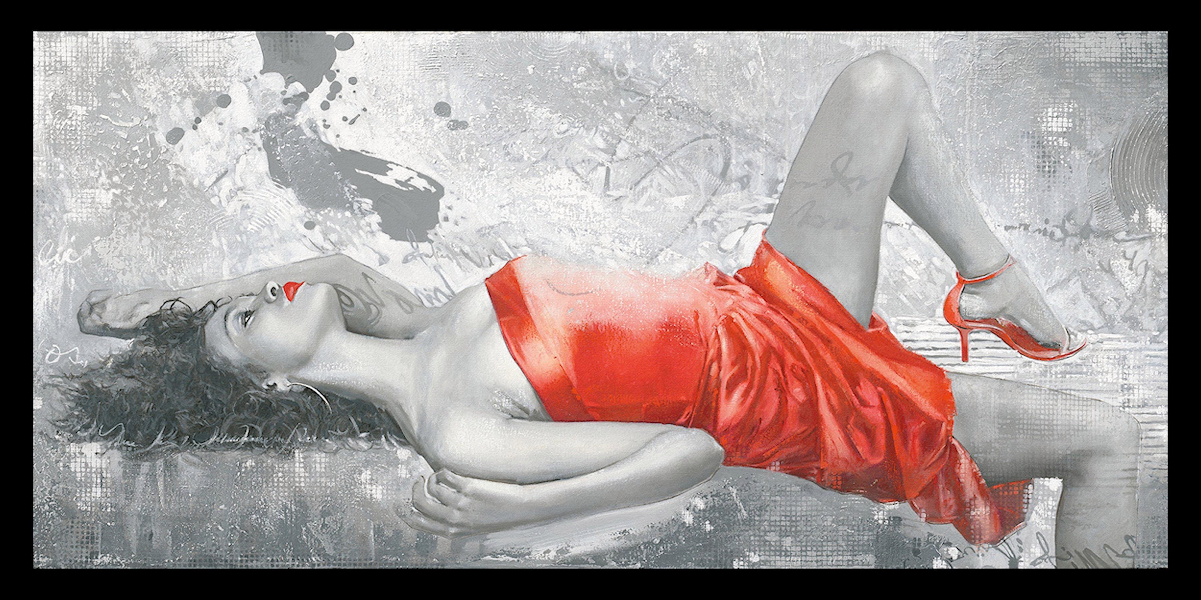 Kunstdruck »ENRICO SESTILLO - Lady in red« mit Rahmen | Dekoration > Bilder und Rahmen > Poster | Mdf