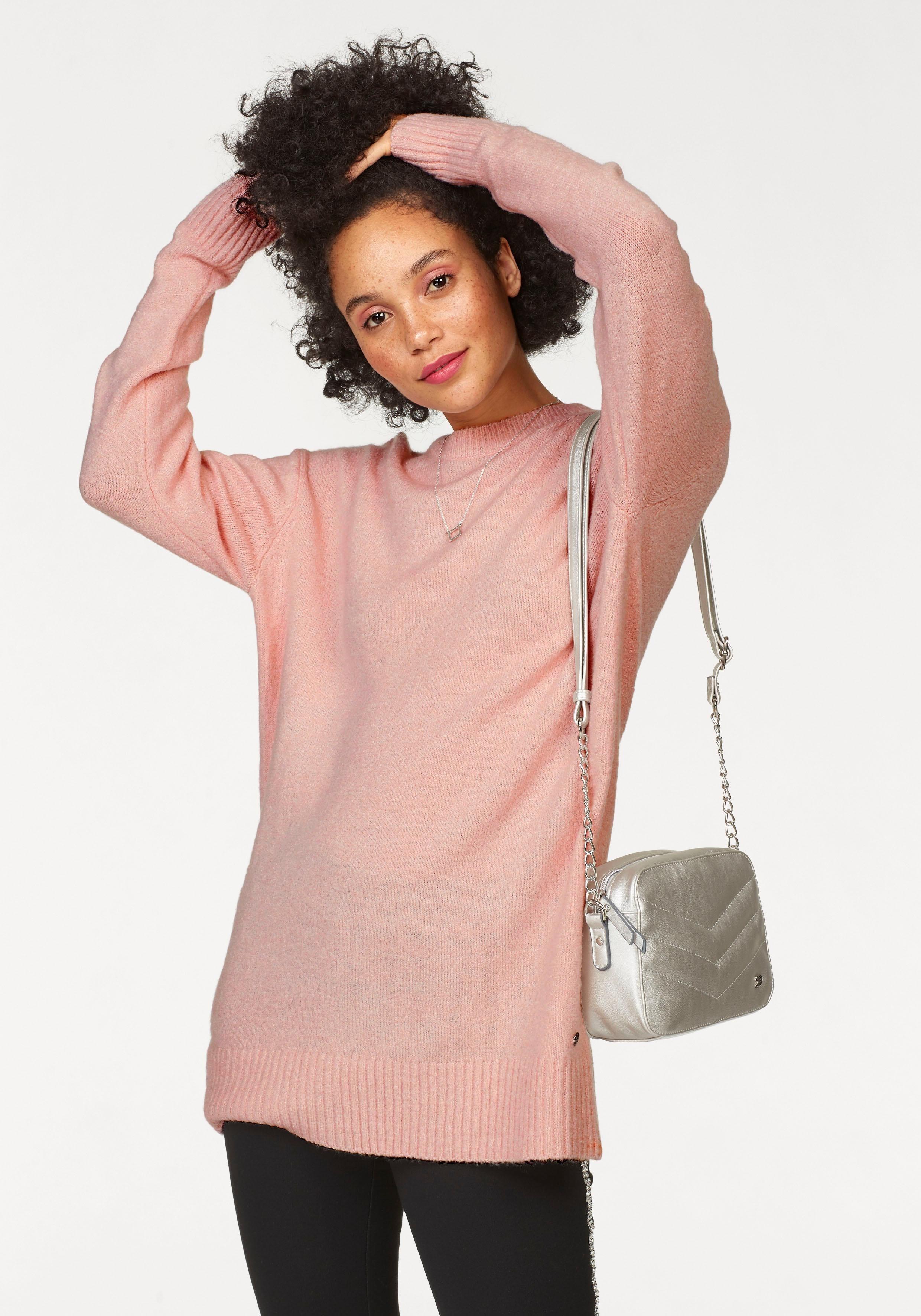 Damen AJC Longpullover, in Oversize-Form rosa, schwarz | 08808747305325